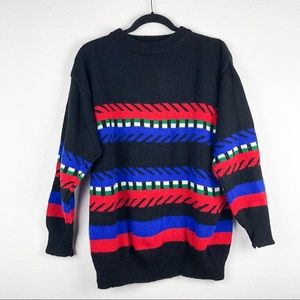 Vintage Black Striped 80's Popover Sweater